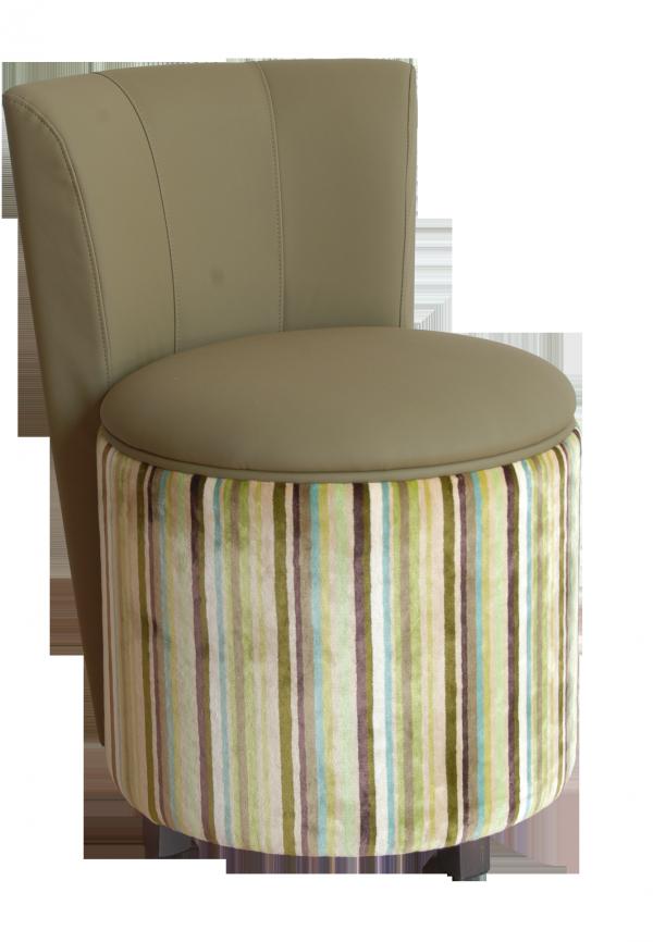 Sedia cilindrica imbottita, con schienale, personalizzabile pouf con schienale