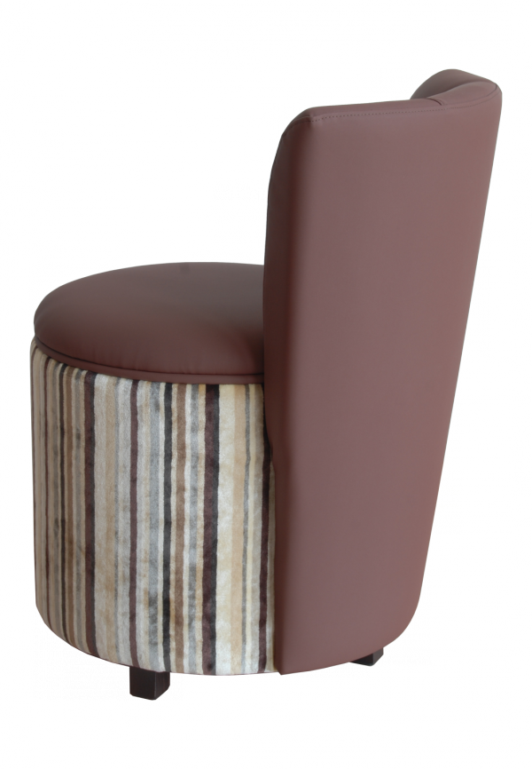 Poltroncina cilindrica imbottita, con schienale - pouf imbottito con schienale